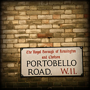 Chelsea Framed Prints - Portobello Road Sign on a Grunge Brick Wall in London England Framed Print by ELITE IMAGE photography By Chad McDermott