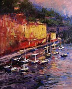 Portofino Italy Painting Posters - Portofino at sundown Poster by R W Goetting