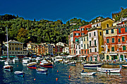 Portofino Italy Photo Framed Prints - Portofino Bay Italy Framed Print by Allan Einhorn