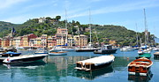 Colorful Buildings Prints - Portofino Boats Print by Corinne Rhode