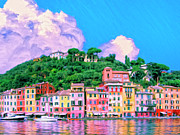Genoa Painting Framed Prints - Portofino Framed Print by Dominic Piperata