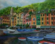 Fishing Village Painting Posters - Portofino Harbor Poster by Charlotte Blanchard