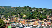 Colorful Houses Prints - Portofino Hillside Print by Corinne Rhode