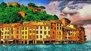 Surreal Landscape Painting Metal Prints - Portofino II Metal Print by George Rossidis