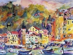 Houses Paintings - Portofino Italy by Ginette Fine Art LLC Ginette Callaway
