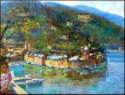 Boats In Water Paintings - Portofino Italy by Landi