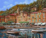 Water Reflections Painting Framed Prints - Portofino-La Piazzetta e le barche Framed Print by Guido Borelli