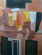 Portofino Italy Originals - Portofino Laundry by Linda Scott