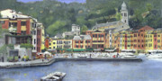 Genoa Painting Framed Prints - Portofino Framed Print by Peter Worsley