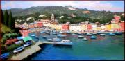 Boats In Water Paintings - Portofino seascape by Antonio Iannicelli