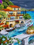 Portofino Italy Drawings - Portofino Villa by Robert Thornton