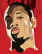 All Star Digital Art Posters - Portrait - Dwyane Wade Poster by Kevin Kocses