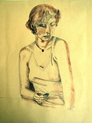 Pencil Sketch Mixed Media Prints - Portrait 5 Print by Julie Coughlin