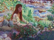 Natural World Paintings - Portrait by the Stream by Dawn Senior-Trask