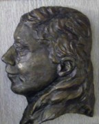 Portraits Reliefs Framed Prints - Portrait in Bronze Framed Print by Willoughby  Senior