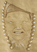 Tibet Drawings Prints - Portrait IV Print by Trissa Tilson