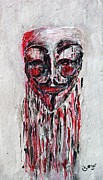 Fbi Prints - Portrait Melting of Anonymous Mask chan wikileak occupy guy fawkes sopa mpaa pirate lulz reddit Print by M Zimmerman MendyZ