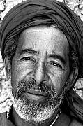 Northern Africa Metal Prints - Portrait Of A Berber Man Bw Metal Print by Ralph Ledergerber