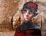 Young Man Prints - Portrait of a boy with a castle in the background. Print by Ipalbus Art