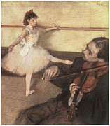 Portriat Posters - Portrait of a Dancer at her Lesson Poster by Edgar Degas