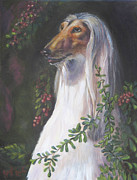 Afghan Hound Paintings - Portrait of a Domino Afghan Hound by Gayle Rene