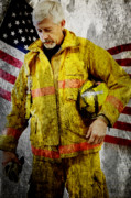 Honor Posters - Portrait of a Firefighter Poster by Toni Hopper