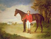 Building Prints - Portrait of a gentleman with his horse Print by English School