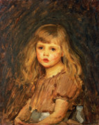 Little Girl Painting Posters - Portrait of a Girl Poster by John William Waterhouse