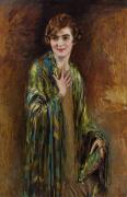 Flapper Prints - Portrait of a girl with a green shawl Print by Isaac Cohen