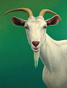 Green Painting Framed Prints - Portrait of a Goat Framed Print by James W Johnson