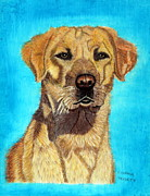 Golden Lab Paintings - Portrait of a Golden Lab by Eugenia Tribett