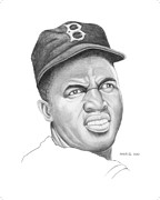Baseball Bat Drawings - Portrait of a Hero Jackie Robinson by Brett Farr