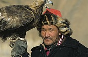 Peoples Framed Prints - Portrait Of A Kazakh Falconer Framed Print by David Edwards
