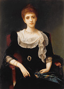 Black Dress Metal Prints - Portrait of a Lady Metal Print by Charles Edward Halle