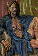 Odalisque Pastels Prints - Portrait of a Lady Print by Dan Earle