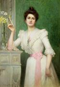 Early Flowers Posters - Portrait of a lady holding a fan Poster by Jules-Charles Aviat