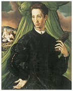 Francesco Painting Posters - Portrait of a Man Poster by Francesco Salviati