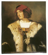 Titian Framed Prints - Portrait of a Man in a Red Cap Framed Print by Titian