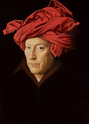 Coat Paintings - Portrait of a Man by Jan Van Eyck
