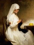 Knitting Posters - Portrait of a Nurse from the Red Cross Poster by Gabriel Emile Niscolet