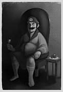 Mario Digital Art Metal Prints - Portrait of a Plumber Metal Print by Michael Myers