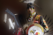 Pow Wow Metal Prints - Portrait Of A Proud Man 2 Metal Print by Bob Christopher