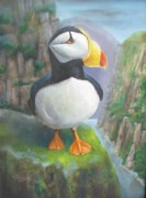 Puffin Paintings - Portrait of a Puffin by Oz Freedgood