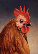 Farm Painting Prints - Portrait of a Rooster Print by James W Johnson