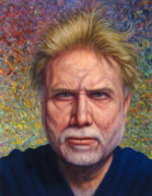 Self Portrait Painting Metal Prints - Portrait of a Serious Artist Metal Print by James W Johnson