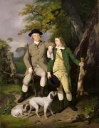 Full-length Portrait Painting Framed Prints - Portrait of a Sportsman with his Son Framed Print by Francis Wheatley