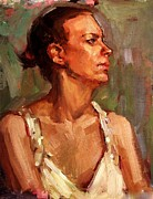 Teen Painting Originals - Portrait of a Stern and Distanced Hardworking Woman in Light Summer Dress with Deep Shadows Dramatic by M Zimmerman MendyZ