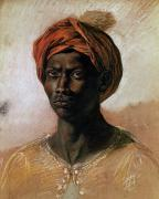 Black Men Painting Framed Prints - Portrait of a Turk in a Turban Framed Print by Ferdinand Victor Eugene Delacroix