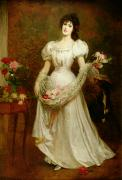 White Roses Paintings - Portrait of a woman and her greyhound by English School