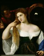 Cleavage Posters - Portrait of a Woman at her Toilet Poster by Titian